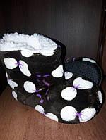 Тапочки теплие детские УГГИ для девочки коричневие в бантик на овчине 32\33-17см стелька, 34\35р-19см стелька