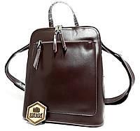 Женский кожаный портфель-сумка формата А4, удобный и практичный Темно-коричневого цвета (шоколад)