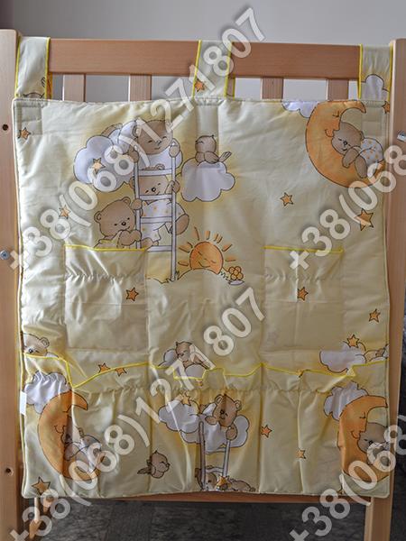 Карман органайзер 65х60 см для аксессуаров на детскую кроватку, желтые расцветки
