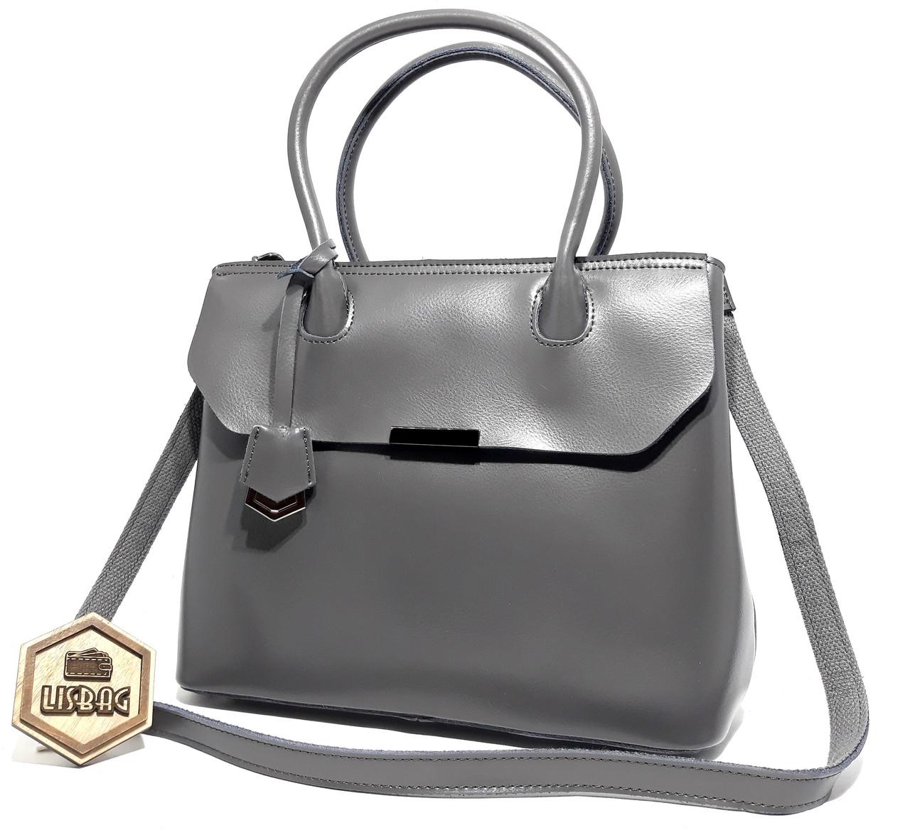 79f25b5b3de2 Женская средняя вместительная женская кожаная повседневная сумка Galanty,  Серая