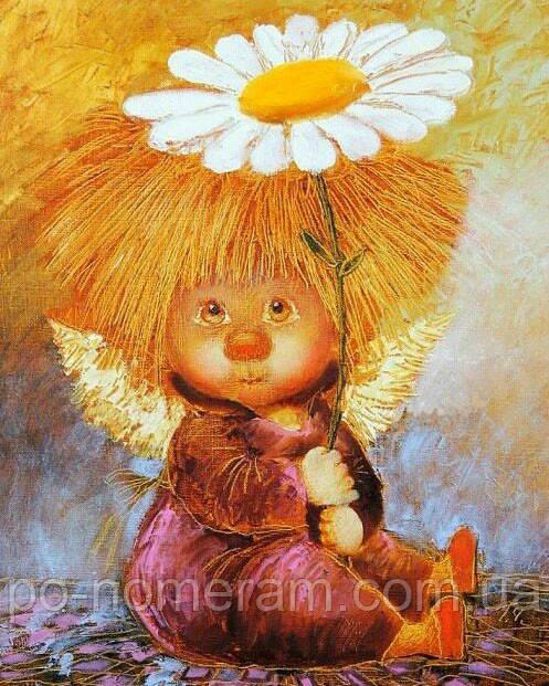Алмазная вышивка Галина Чувиляева ангел с ромашкой