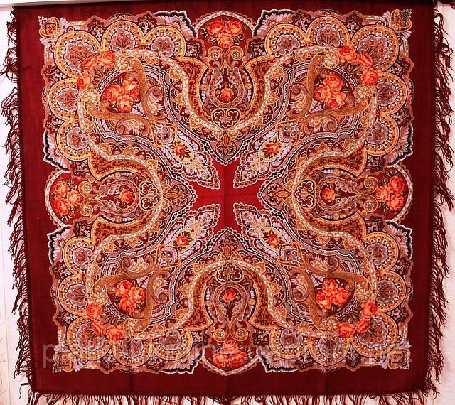 "Платок шерстяной с шерстяной бахромой ""Звонница"", 125х125 см, рис. 1158-6"