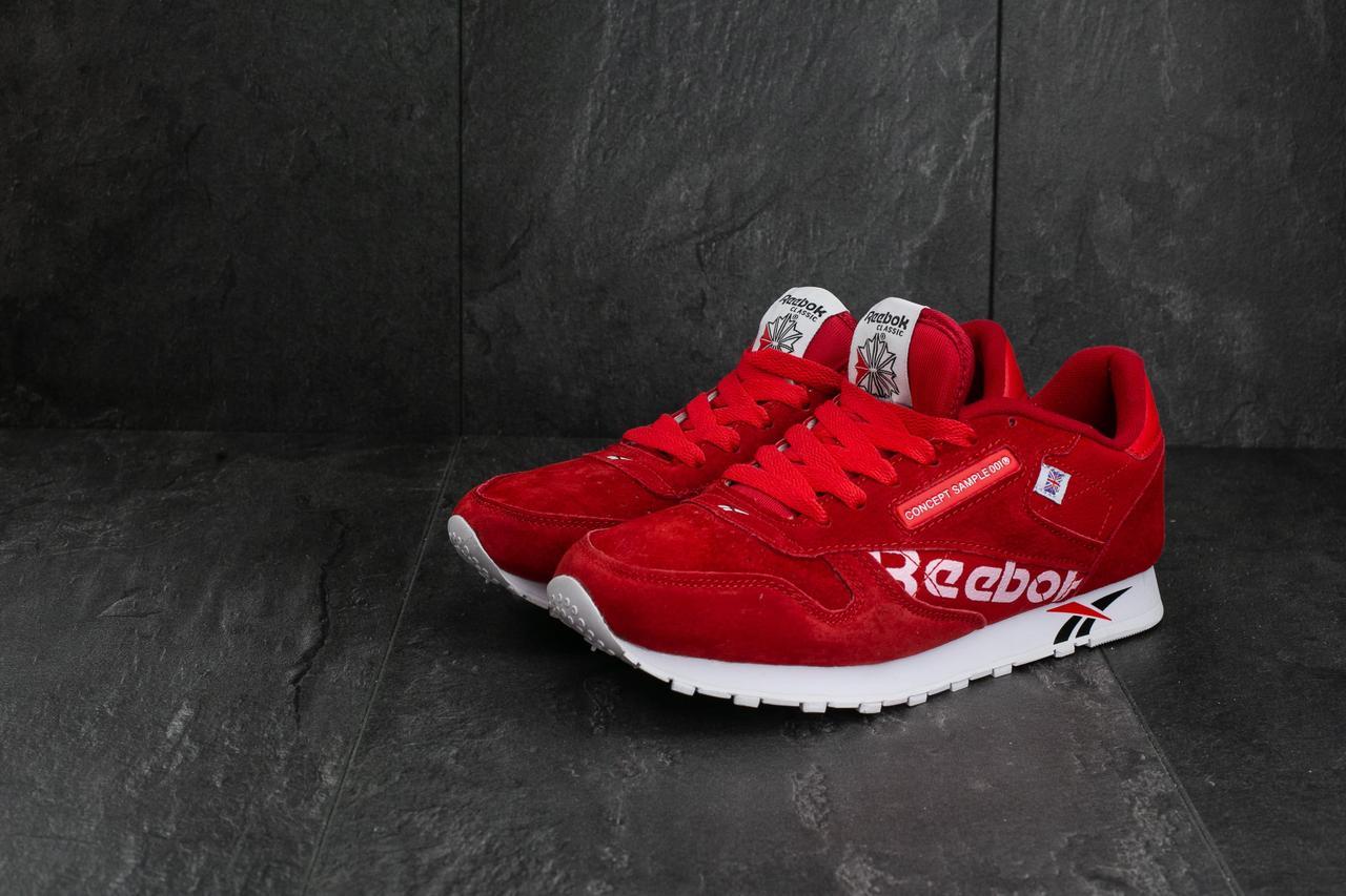 Кроссовки мужские Reebok Concept Sample весенние замшевые молодежные яркие повседневные (красные), ТОП-реплика