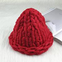 Женская шапка из крупной вязки Хельсинки темно-красная, фото 1