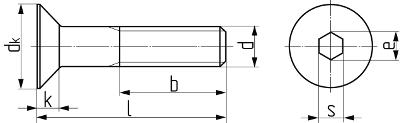 Описание: Винт с внутренним шестигранником с потайной головкой DIN 7991 (EN ISO 10642). Чертёж