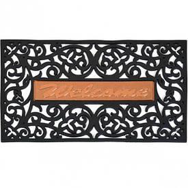 Коврик резиновый прямоугольный «Welcome» металл 45×75 см