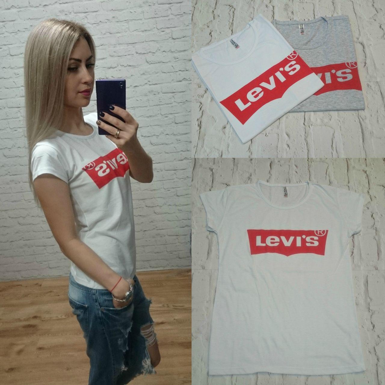 Женская футболка Levis белая оптом