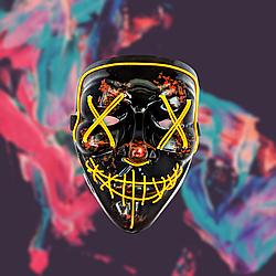 Неоновая маска Судная Ночь Жёлтая