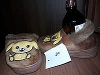Тапочки теплие детские для девочки и мальчика коричневие Собачка 24\25 - 14,5см стелька