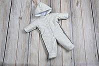 Кашемировый комбинезон детский зимний для новорожденных, серый, фото 1
