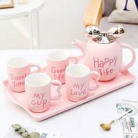 Фарфоровий набір чашки, чайник і разнос. Чайный сервіз подарунковий Happy Life