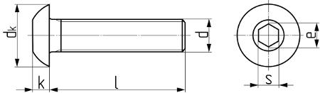 Описание: Винт с полукруглой головкой и внутренним шестигранником ISO 7380. Чертёж