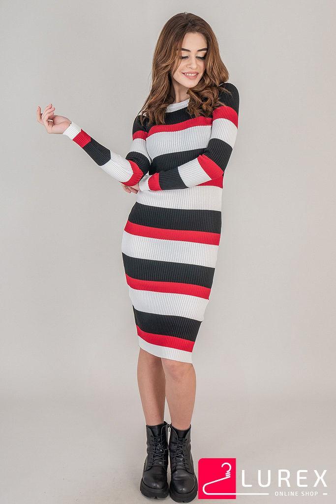 2451ba30390d Купить LUREX Полосатое платье вязки лапша - белый цвет, M 620 грн ...