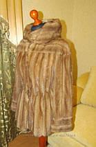 Норковый полушубок с капюшоном Бежевый (Орех), фото 2