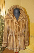 Норковый полушубок с капюшоном Бежевый (Орех), фото 3