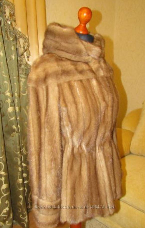 Норковый полушубок с капюшоном Бежевый (Фото 3)