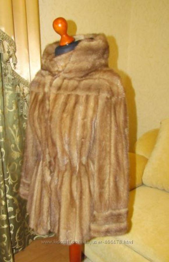 Норковый полушубок с капюшоном Бежевый (Фото 4)
