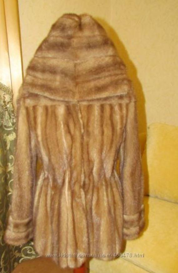Норковый полушубок с капюшоном Бежевый (Фото 6)