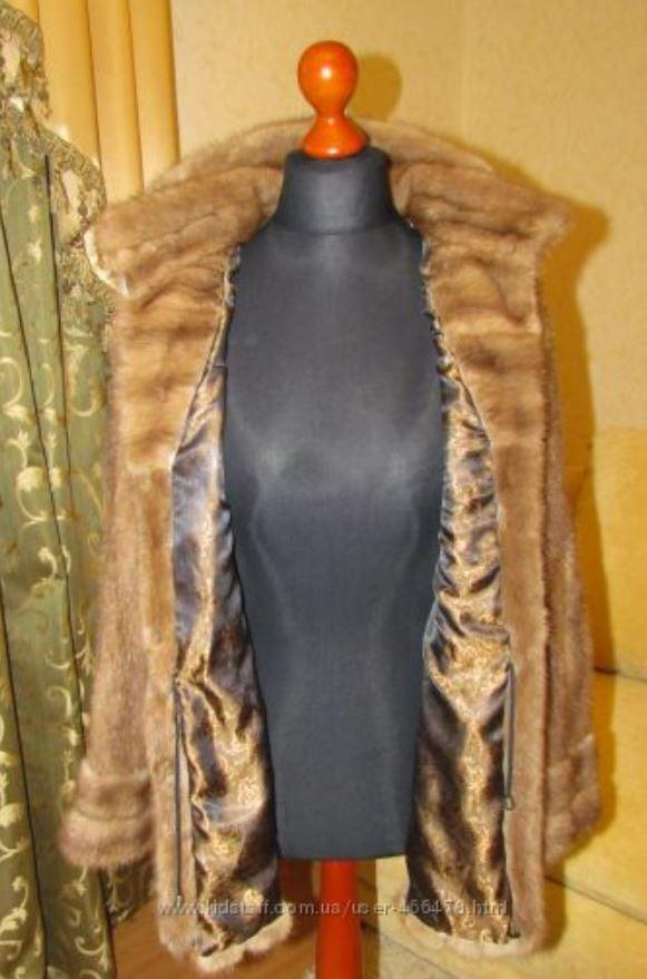 Норковый полушубок с капюшоном Бежевый (Фото 8)