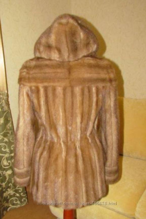 Норковый полушубок с капюшоном Бежевый (Фото 7)