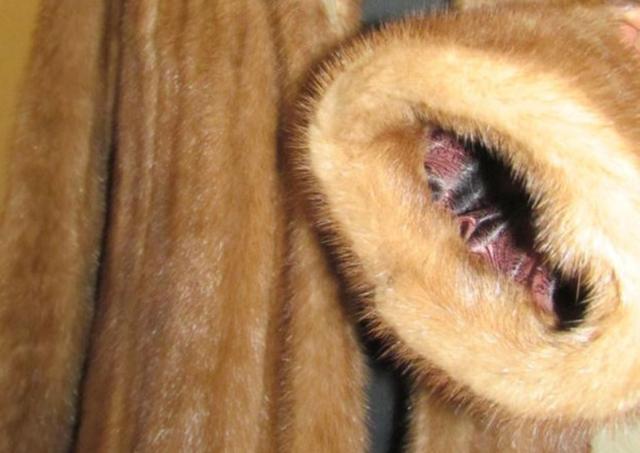 Норковый полушубок с капюшоном Бежевый (Фото 9)