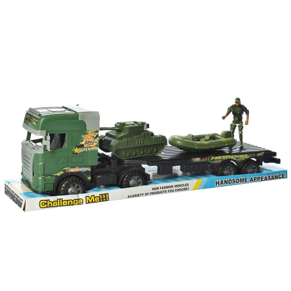 Трейлер 666-99A (36шт) военный, инер-й, 44см, транспорт 2шт, 12см, солдат 8см, в слюде, 49-12-14см