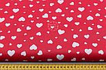 """Ткань хлопковая """"Сердечка трёх размеров"""" белые на красном №1841, фото 2"""