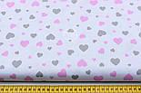 """Ткань хлопковая """"Сердечка трёх размеров"""" розово-серые на белом №1842, фото 2"""