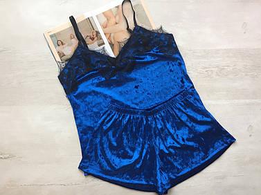 Пижама женская велюровая майка и шорты синяя 016\1