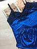 Пижама женская велюровая майка и шорты синяя, фото 2
