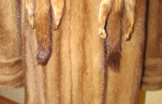 Норковый полушубок с капюшоном Бежевый (Фото 10)