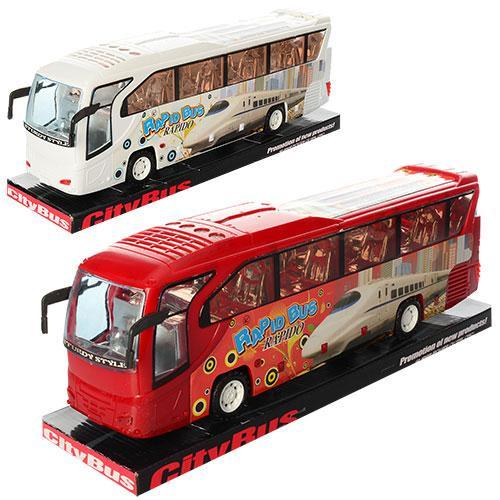 Автобус 3091B (48шт) инер-й, 38см, 2цвета, в слюде, 38-11-9см