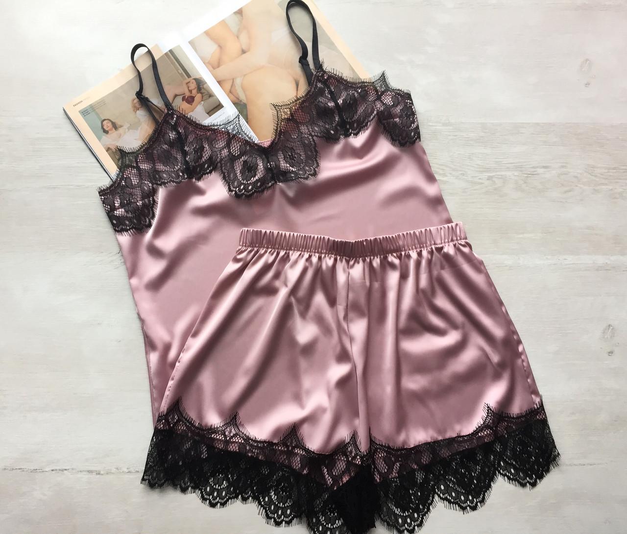 Женская шелковая пижама майка и шорты розовая 03