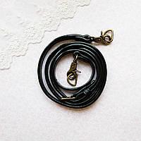 """Ручка для сумки длинная """"Родео"""" 1.4 см - до 122 см, черная, бронза"""