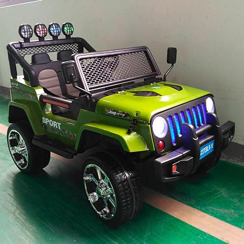Детский электромобиль Джип M 3237 EBLR-10, 4 мотора,мягкие колеса и кожаное сиденье