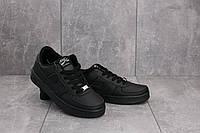 Женские кеды Nike AirForce кожаные повседневные удобные стильные на шнуровке (черные), ТОП-реплика, фото 1