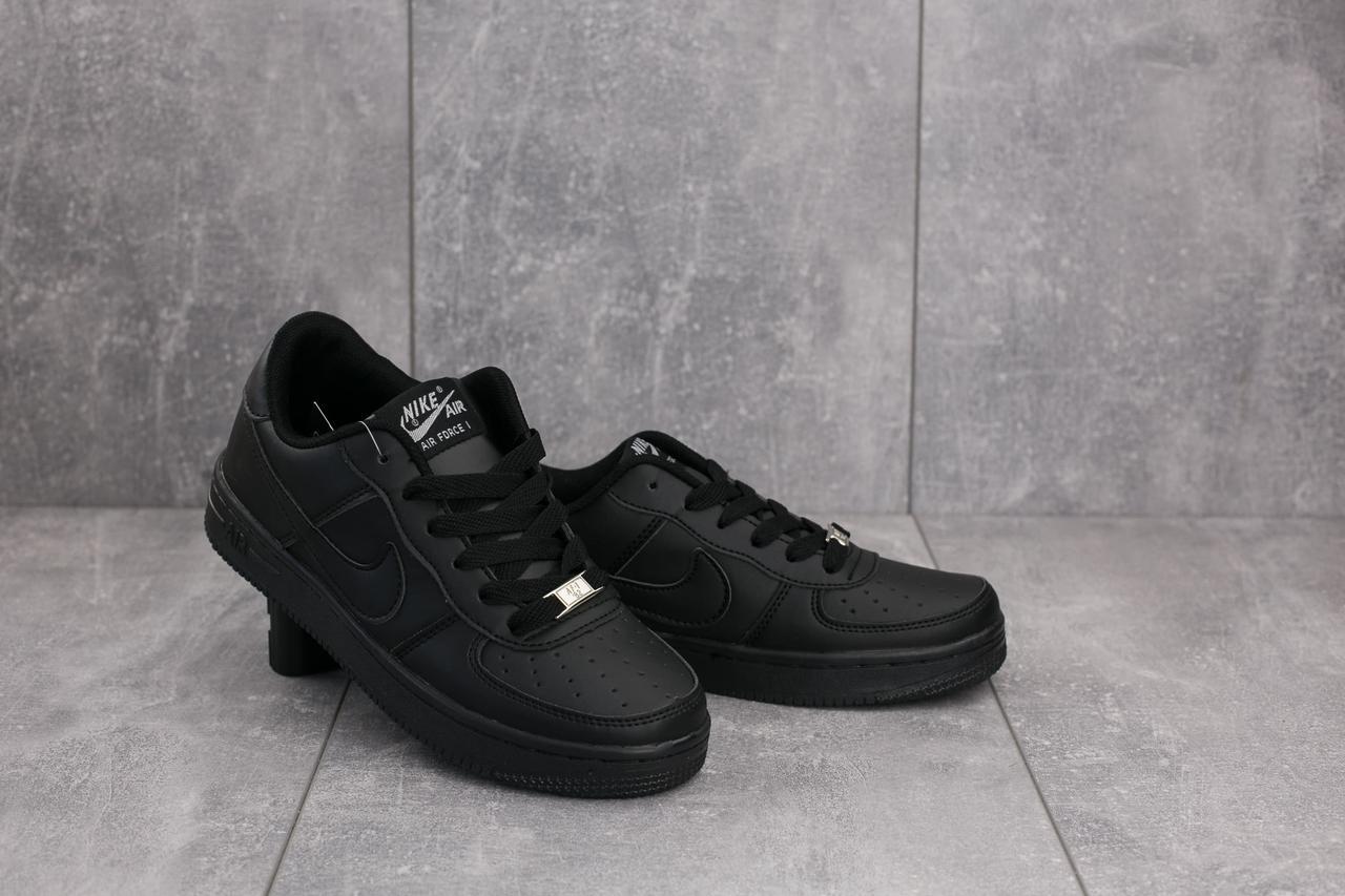 Женские кеды Nike AirForce кожаные повседневные удобные стильные на шнуровке (черные), ТОП-реплика