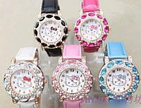 Часы Hello Kitty С КРИСТАЛЛАМИ. Белые , розовые , фото 1
