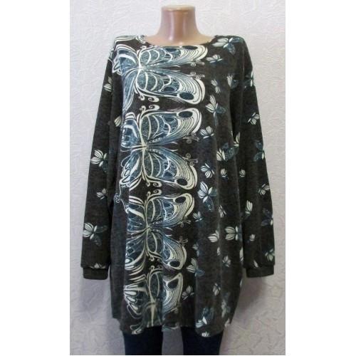 Платье туника ангорка вutterfly, большой размер