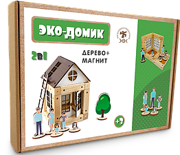 Деревянный конструктор Зевс Эко-домик на магнитах 38 деталей ДМ38, КОД: 285387