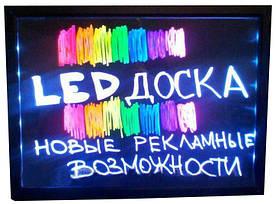 Рекламная led доска светодиодная, прозрачная размером 60х40 см