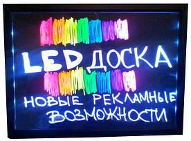 Рекламная led доска светодиодная, прозрачная размером 70х60 см