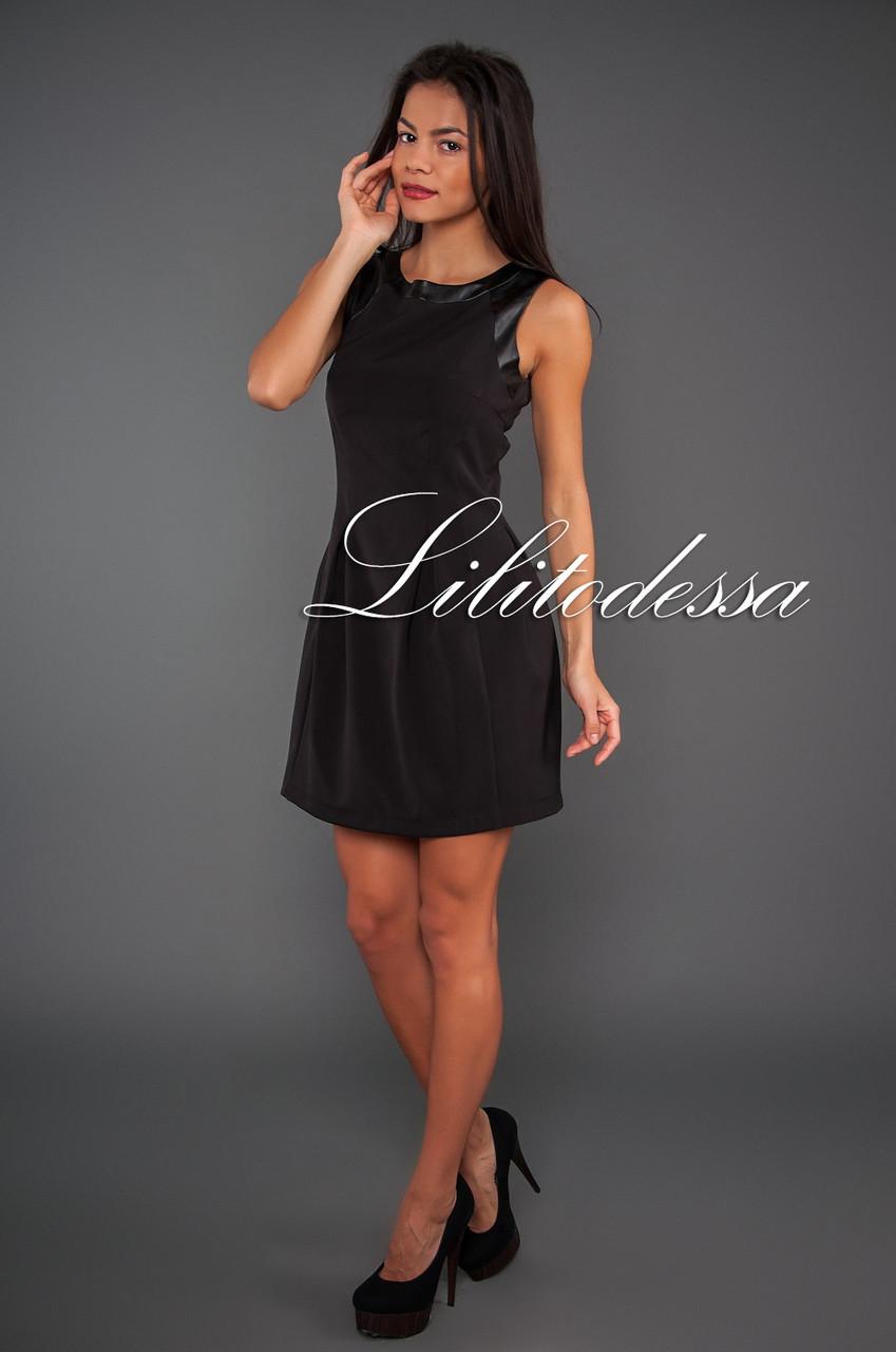 Платье с кожаной отделкой черный