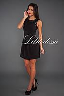 Платье с кожаной отделкой черный, фото 1