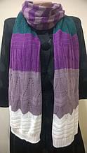 Яркий шерстяной вязаный шарф  с элементами ажура
