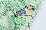 "Ткань хлопковая ""Большие туканы на зелёных пальмовых ветках"" на салатовом (№1814а), фото 3"