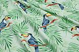 "Ткань хлопковая ""Большие туканы на зелёных пальмовых ветках"" на салатовом (№1814а), фото 6"
