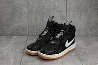 Женские кроссовки Nike AF-1 весна высокие молодежные повседневные на шнуровке под джинсы (черные), ТОП-реплика, фото 1
