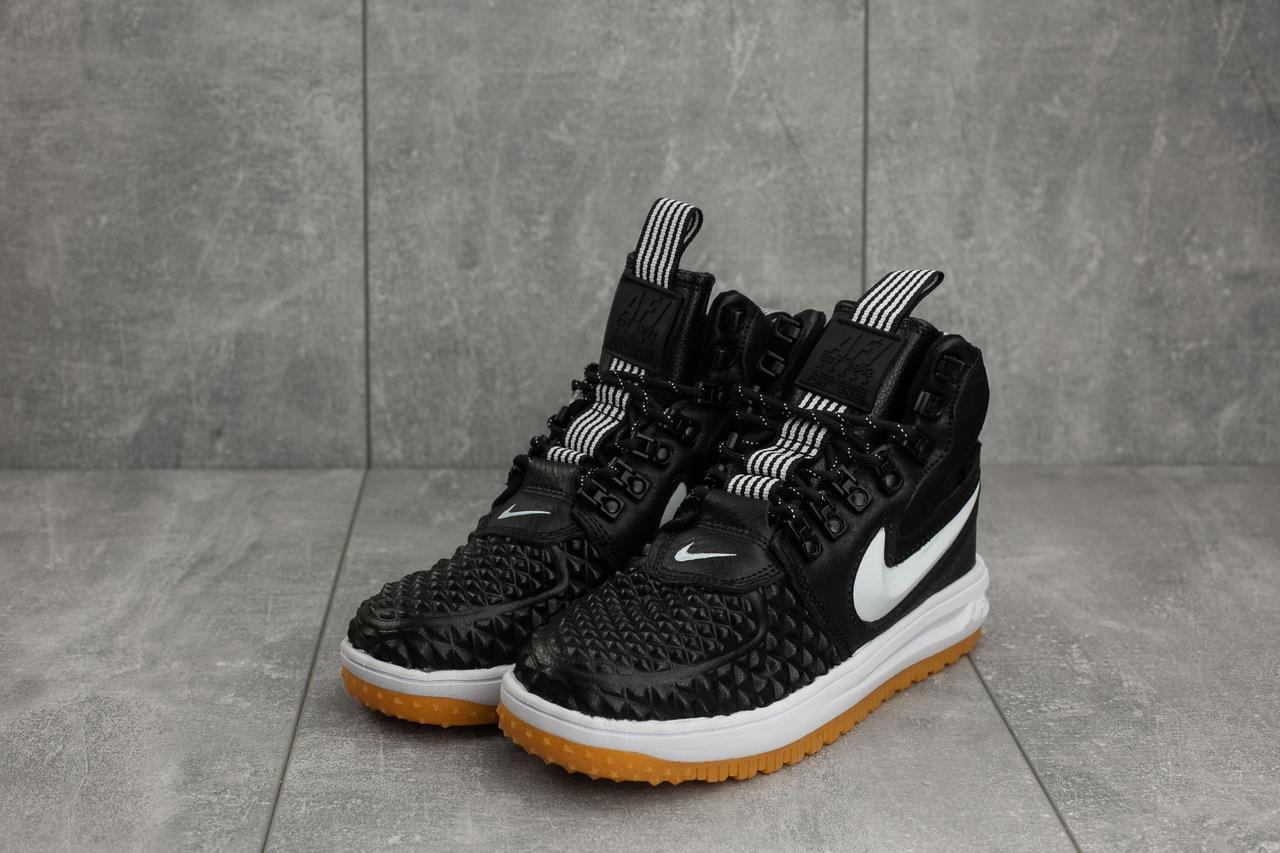 Женские кроссовки Nike AF-1 весна высокие молодежные повседневные на шнуровке под джинсы (черные), ТОП-реплика