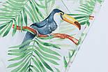 """Ткань хлопковая """"Большие туканы на зелёных пальмовых ветках"""" на белом (№1815а), фото 3"""